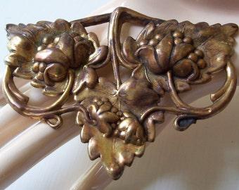 Vintage Large Brass Floral Stamping