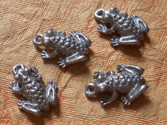 4 Silver Frog Charms