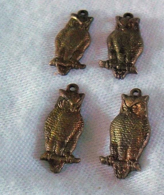 Vintage Brass Owl Charm Lot