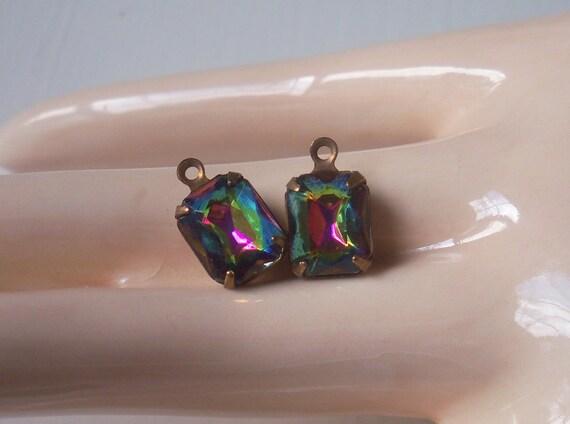 Vintage Iridize Glass Stones Oxidized Brass Mounted West Germany Glass Stones Dangles