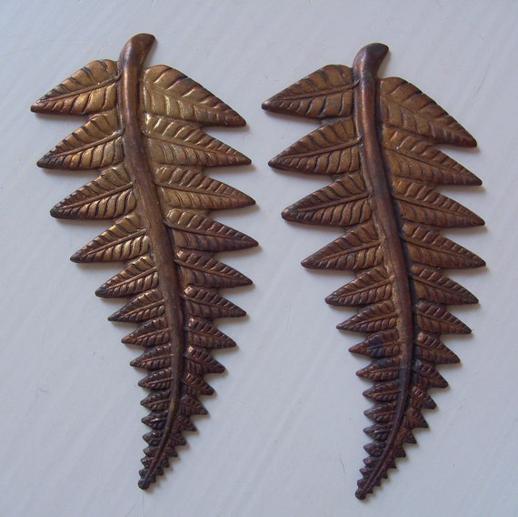 Vintage Oxidized Brass Leaf Stampings