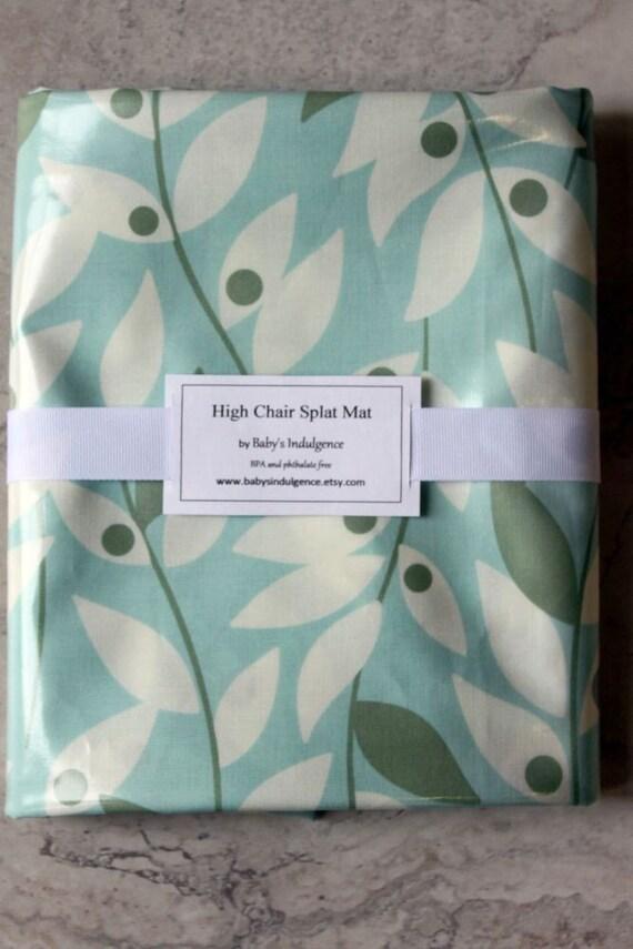 XL Splat Mat - Art Mat Laminated Cotton Blue Lindy Leaf by Heather Bailey 55x55 Inches BPA Free, PVC Free