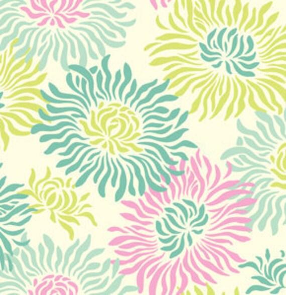 Medium Splat Mat - Art Mat Laminated Cotton - Teal Mums, 33x52 Inches, BPA Free & PVC Free