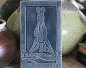 Lotus Yoga tile with Greyhound Whippet Dog in worn denim blue glaze