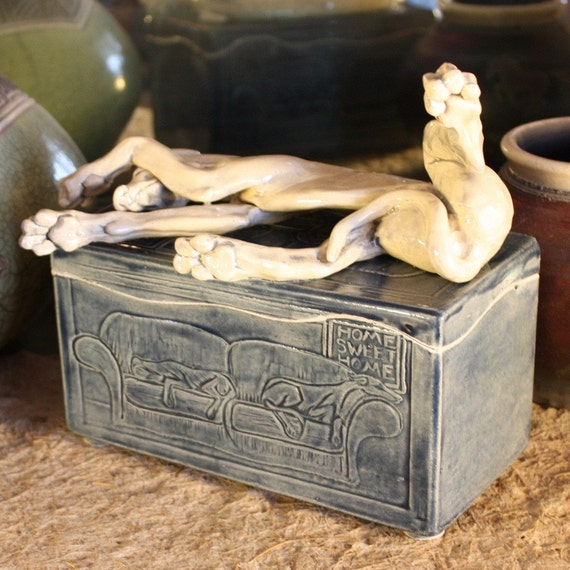 Handmade memory box urn for Greyhound or Whippet