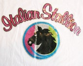 Vintage 1974 Italian Stallion Glitter Iron On Transfer Tee (Mens Small)