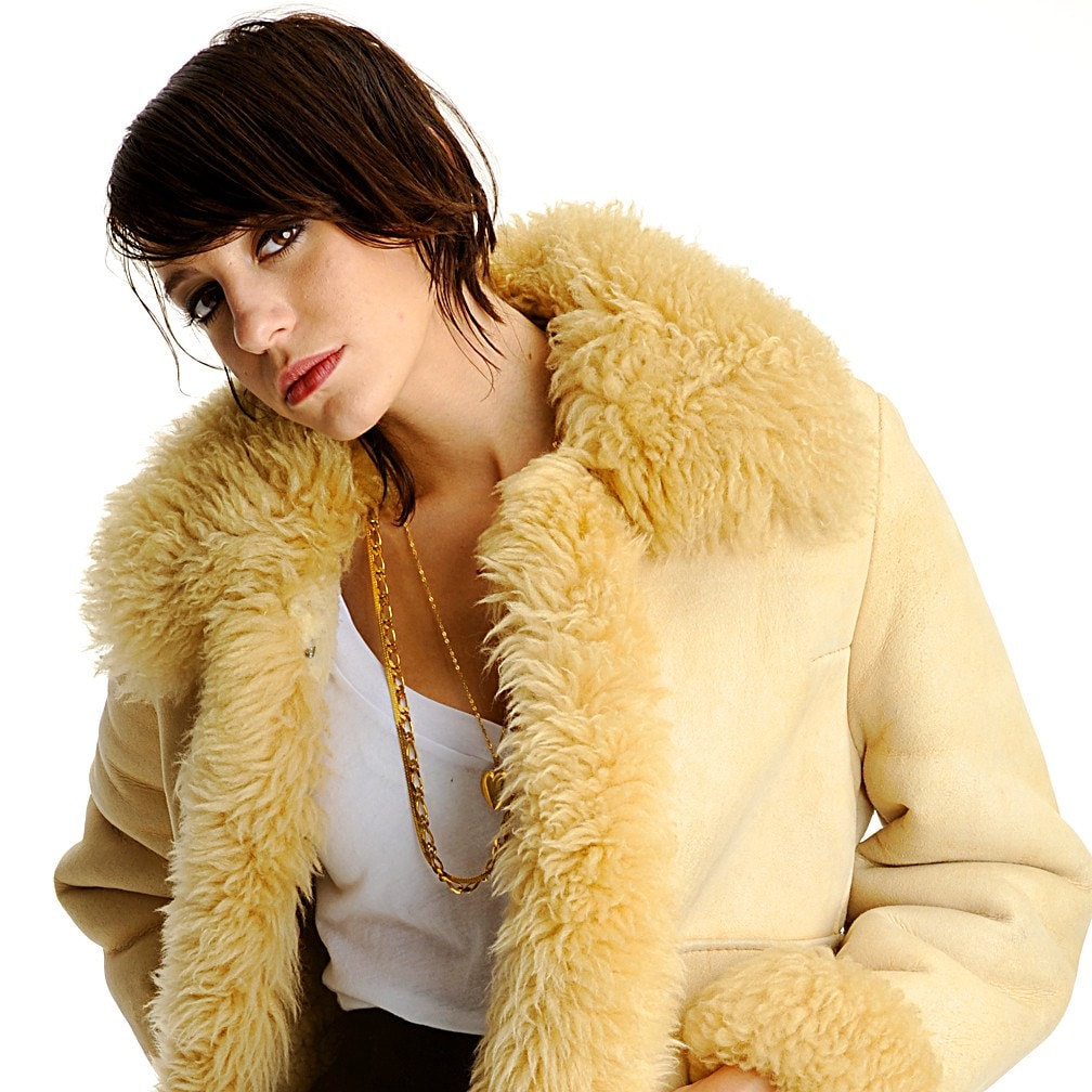 Vintage 1970s Sexy Sherpa Leather Faux Fur Tan Coat Jacket XS/S Super Warm ...