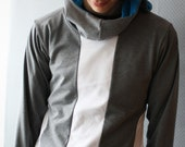 White and Grey Man Hoodie \/ by Replicca \/ size Medium