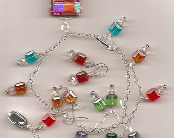 Dichroic Rectangle Pendant with Swarovski Cubes on Sterling Silver Set