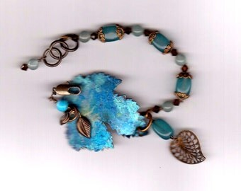 Blue Metallic Leaf bracelet