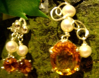Golden Citrine and freshwater Pearl necklace set