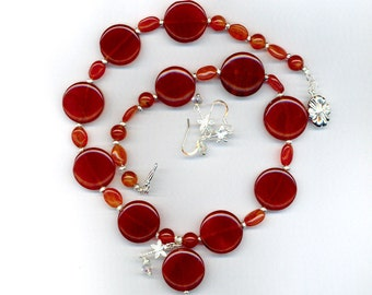 Carnelian and sterling silver Dragonfly necklace set