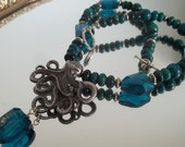 Art nouveau style octopus pendant necklace with blue crystals and chrysocolla stone necklace