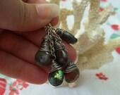 Peacock blue blister pearl cluster earrings