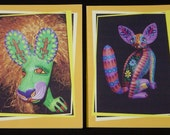 Colorful Zeny Fuentes Oaxacan Woodcarving Photo Notecards - set of 4