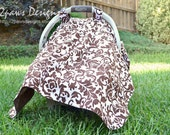 Infant Car Seat Cover - Pink Brown Damask - oops