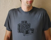 Polaroid Land Camera T shirt for Women or Men- Poly Cotton in Asphalt