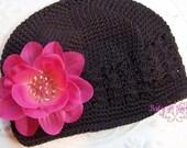 Baby Beanies / Girls Beanies / Newborn Beaneis /  ADDISON Light Fuchsia Pink Flower Brown Crochet Beanie