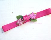 Dainty Triple GINGER Satin Flower Elastic Headband In Shades Dark Pink Four Sizes Fits Newborn Baby Toddler To Adults