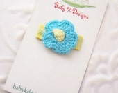 Infant Clip SALE Blue and Yellow Crochet Flower Infant / Baby Hair Clip