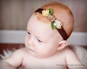 Baby headband, newborn headband, adult headband, child headband and photography prop Dainty Triple GINGER Satin Flower Elastic Headband