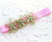 Newborn Headband / Baby Headband / Infant Headband / Girls Sheer Organza FINLEY Flower headband in Moss Green and Pink  Made To Order