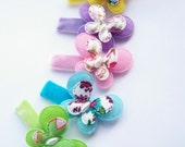 Infant Clips. Baby Bows. Baby Snap Clips. Petite Butterfly Hair Clips Pink, Blue, Yellow, Green Purple Velvet No Slip Clippies