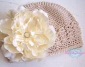 Baby Beanie / Newborn Beanie / Girls Large Ivory HANNAH Velvet Peony Flower Crochet  Beanie