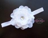 ABELLA Baby Headband / Newborn Headband / Infant Headband / Girls Pure White Flower Headband For Weddings Flower Girl Baptism