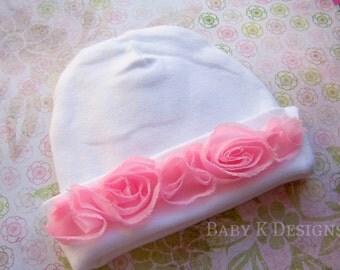 Newborn  baby Girl Hospital Hat Pink n White Beanie | Baby Girls Newborn Toddler Shabby Chich Frayed Flower Trim Cap Other Options 2 Sizess