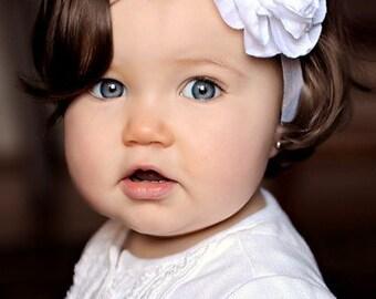 Baby Headband / Newborn Headband / Infant Headband / Girls Pure White LULU BELLE Rosette Flower Stretch Headband Made to Order
