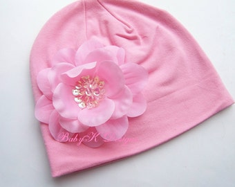 Newborn  Beanie / Baby Girls Perfect Pink ADDISON  Flower Cotton Beanie/  Kids Hat / Two sizes More Colors Hospital Hat Bring Baby Home