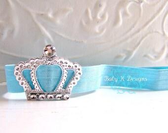 Baby Headband / Newborn Headband / Infant Headband / Perfect Princess Crown AQUA BLUE Headband / Baby Girl Headband You Pick The Color