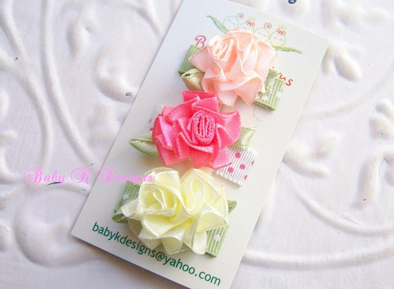 Baby Bow/ Baby Snap Clips / Small Itty Bitty Clips / Infant Clips / Satin Shabby Chic Flower Clips / No Slip Hair Clips / Newborn Clippies