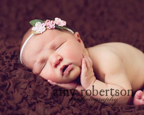 Newborn Headband / Baby Headband / Flower headband / Rustic Girls Shabby Chic Triple GINGER Satin Flower Elastic Headband Ivory Pink