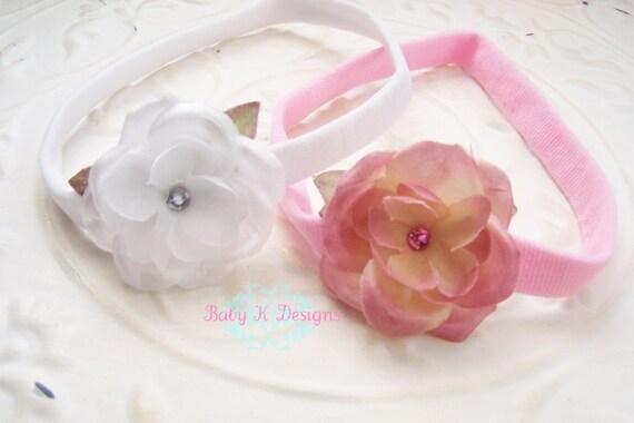 Set of 2 Newborn Headband / Baby Girl Headband / Infant Headband / GRACEN Pink Flower Headband More Colors Pick ANY 2. Baby Girl Bow