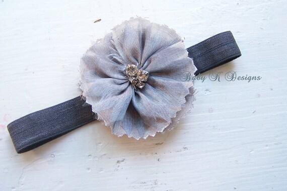 Flower Headband / Girls headband / Baby Headband / Newborn Headband / Vintage Silver / Gray FAY Rosette Soft Stretch Headband ONLY 1 LEFT