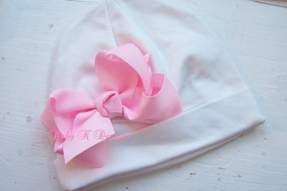 Baby Girls Hat Beanie | Newborn Hospital Hat | Cute Girls Beanies | Infant Hat | White n Pink Hair Bow Beenie TWO SIZES