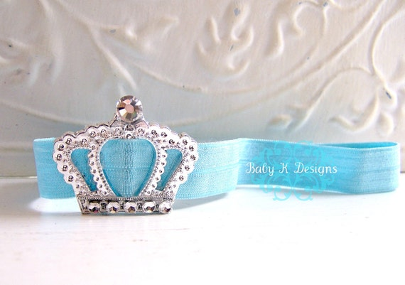 Baby Headband / Newborn Headband / Infant Headband / Perfect Princess Crown AQUA BLUE Headband / Baby Girl Headband You Pick The Color