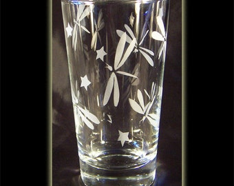 Dragonfly Sandblasted Bug Art Clear Pint Beer Glass