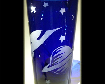 Outer Space Retro Rocketship UFO Cobalt Pint Beer Glass