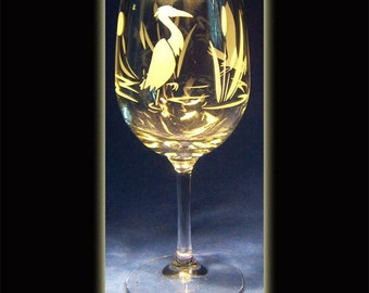 Great Blue Heron Wine Glass Sandblasted
