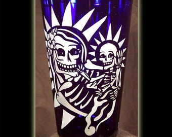 Day Of The Dead Art Skeleton Mother And Child Cobalt Pint Beer Glass