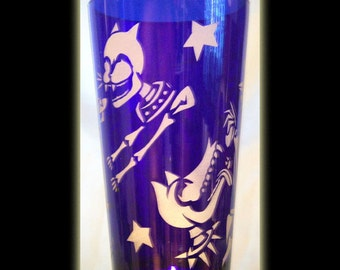 Day Of The Dead Dog n Cat With Skeletons Cobalt Pint Beer Glass