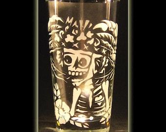 Day Of The Dead Art Catrina Calavera Juice High ball Glass