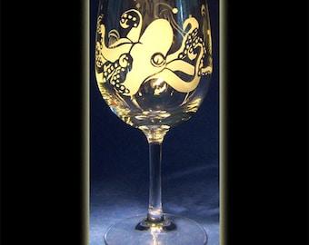 Octopus And Jellyfish Undersea Art Sandblasted Wine Glass