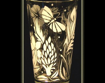 Tropical Hibiscus Flower Garden Pint Beer Glass