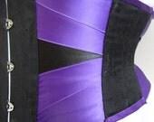 "Purple and black bell brocade coutil ribbon corset 29"" waist cincher steel boned steampunk victorian edwardian burlesque pin up goth"