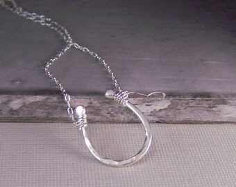 Lucky Horseshoe Necklace, Sterling Silver, Good Luck Charm Horse Shoe Pendant