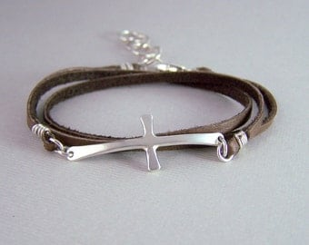 Silver Cross Leather Wrap Bracelet - Sideways Cross Jewelry - Sterling Cross Bracelet